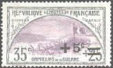France :  + 5c sur 35c + 25c gris et violet 2ème série orphelins