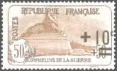 France :  +10c sur 50c + 50c brun 2ème série orphelins