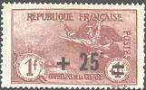 France :  +25c sur 1f + 1f carmin 2ème série orphelins
