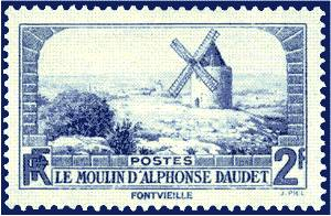 France : 2 f bleu moulin d'Alphonse Daudet